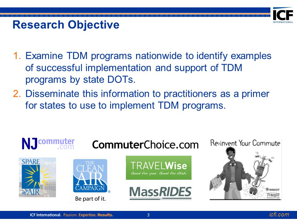 icfi.com 3 Research Objective 1.Examine TDM programs nationwide to identify examples of successful implementation and support of TDM programs by state DOTs.