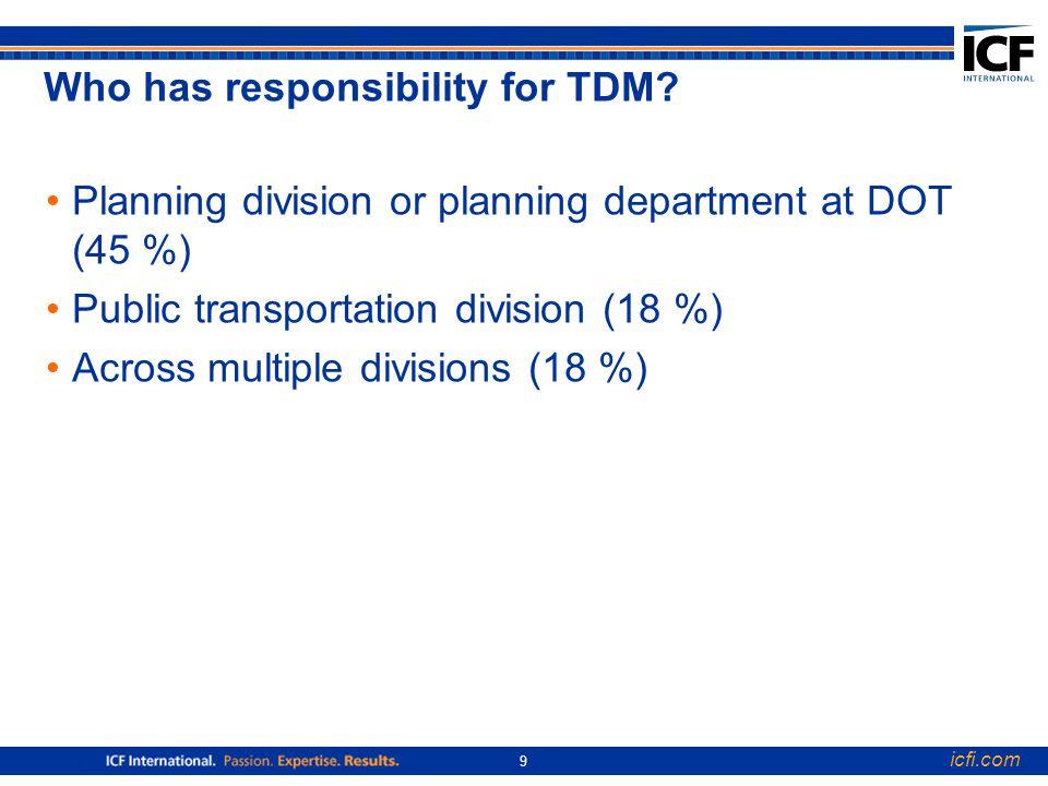 icfi.com 9 Who has responsibility for TDM.