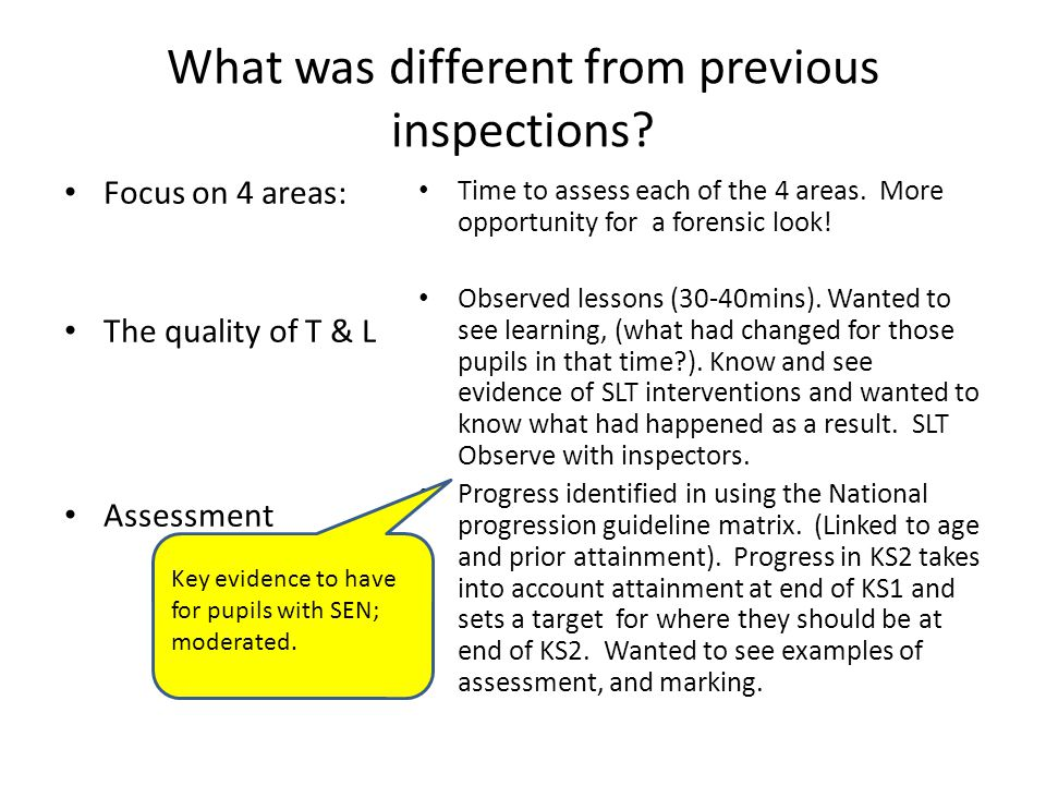 What was different from previous inspections.