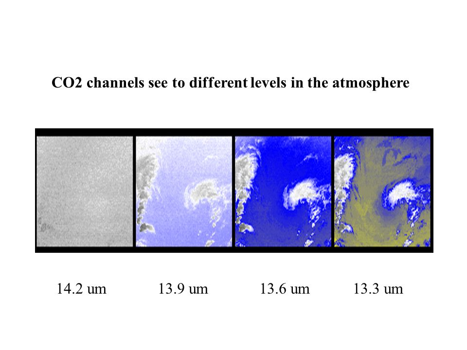 CO2 channels see to different levels in the atmosphere 14.2 um 13.9 um 13.6 um 13.3 um