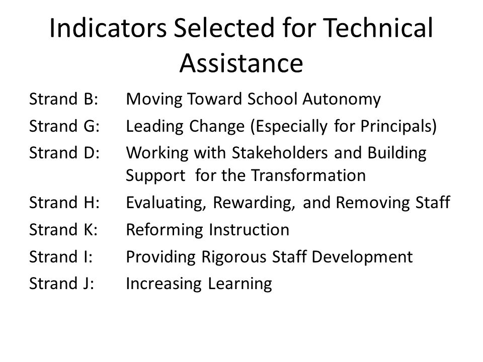 Indicators Selected for Technical Assistance Strand B:Moving Toward School Autonomy Strand G: Leading Change (Especially for Principals) Strand D: Wor