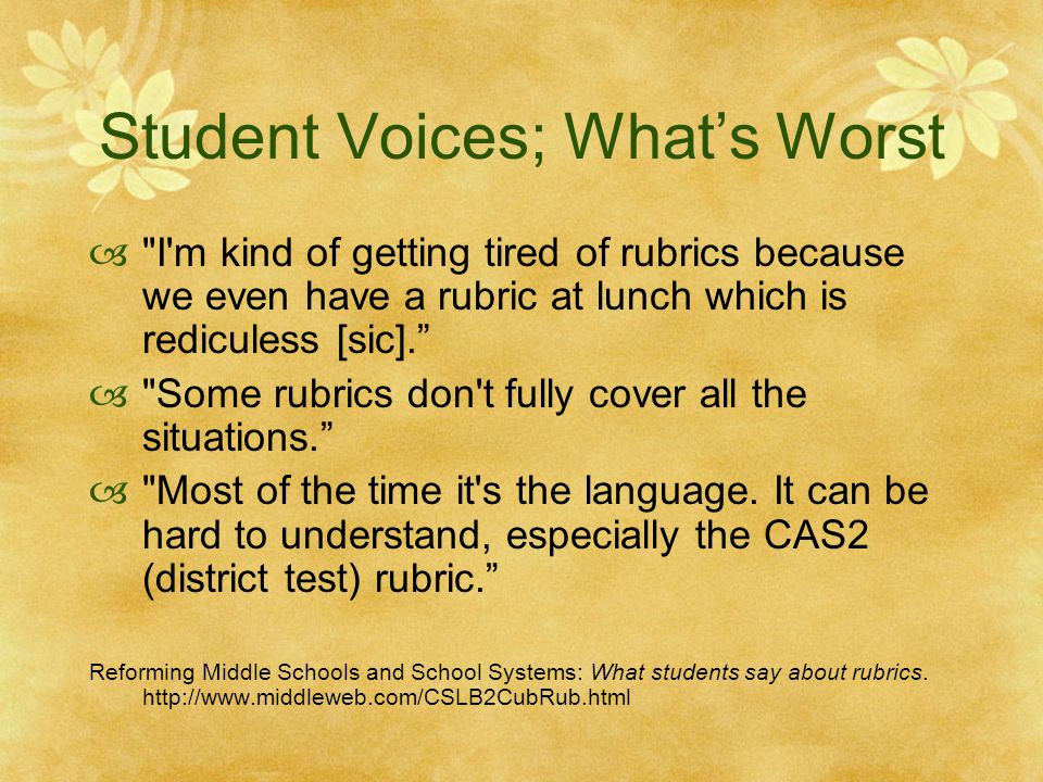 Student Voices; What's Worst 