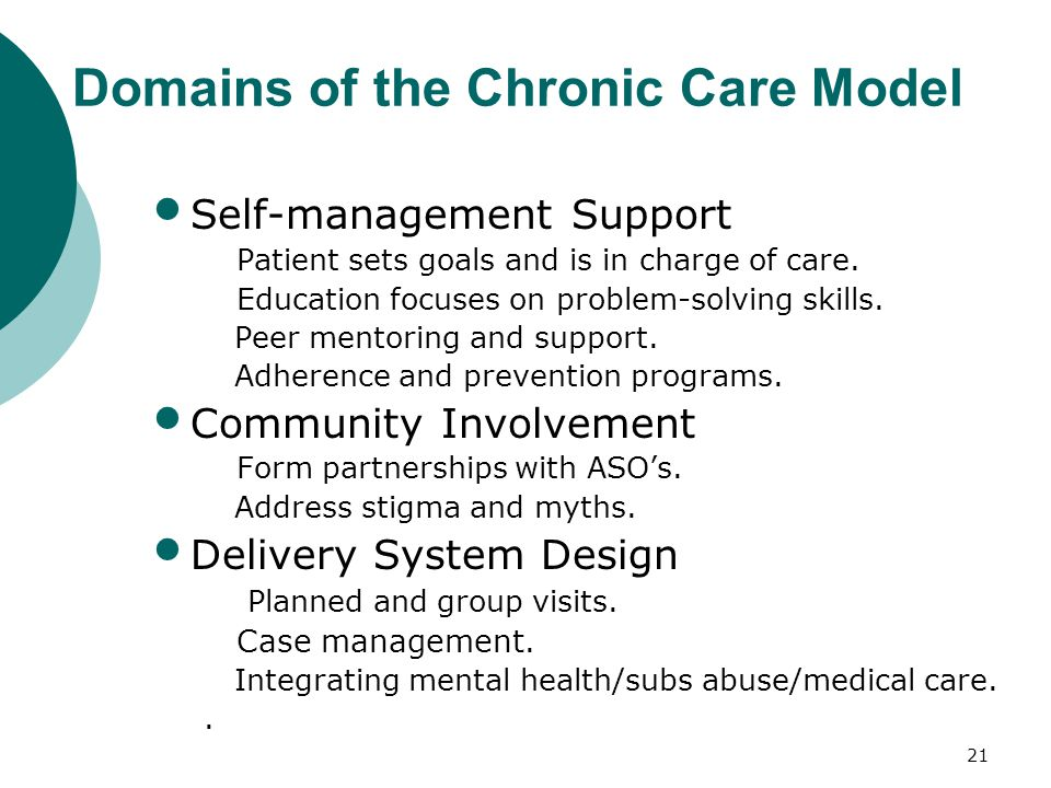 20 Informed, Activated Patient/Client Productive Interactions Prepared, Proactive Care Team Improved Outcomes Case man.; Integrate MH care AETC traini