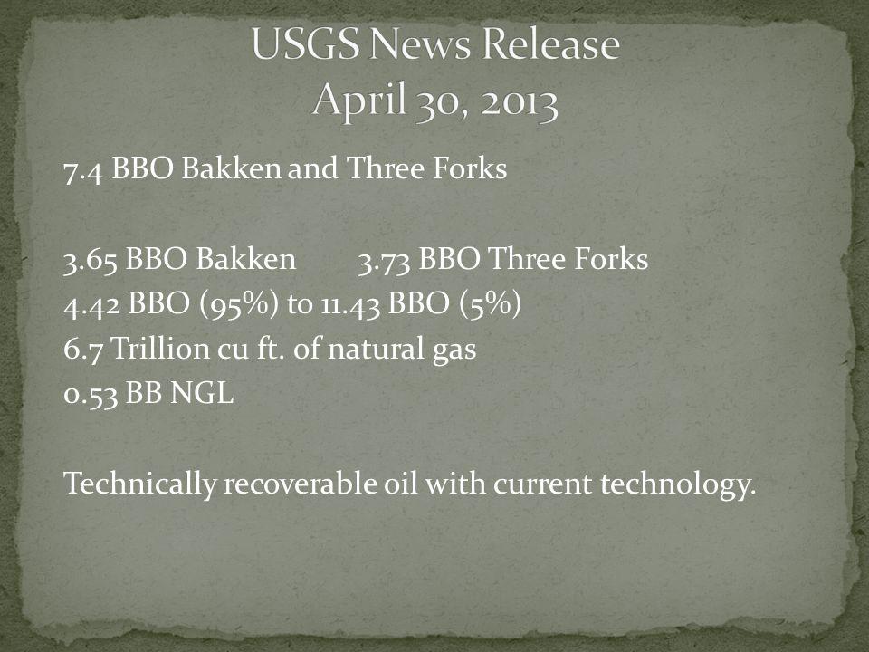 7.4 BBO Bakken and Three Forks 3.65 BBO Bakken 3.73 BBO Three Forks 4.42 BBO (95%) to 11.43 BBO (5%) 6.7 Trillion cu ft.