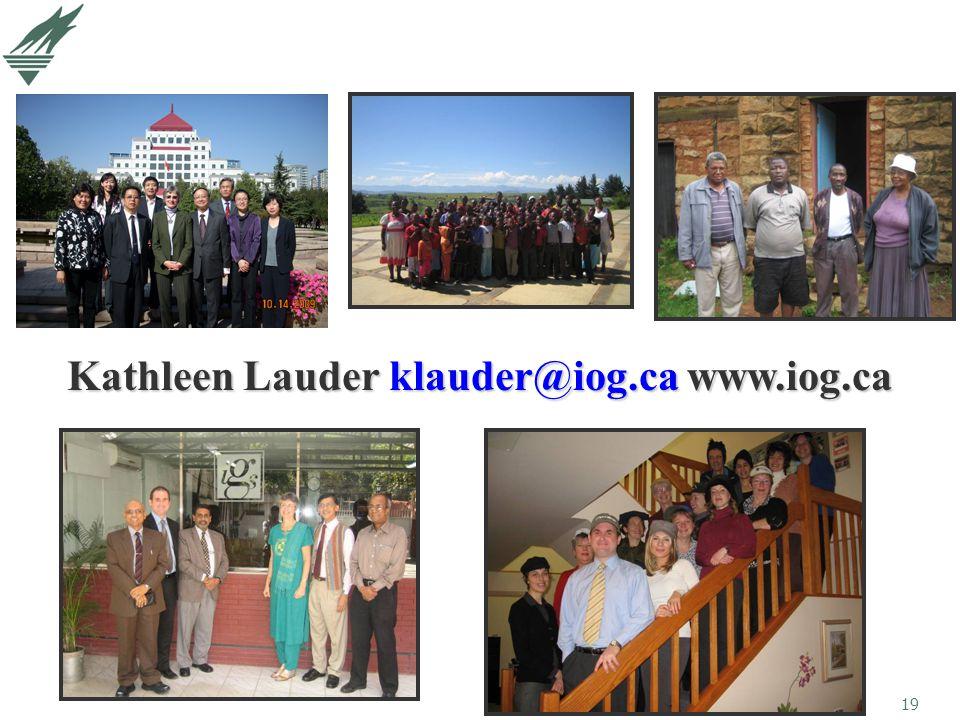 19 Kathleen Lauder klauder@iog.ca www.iog.ca