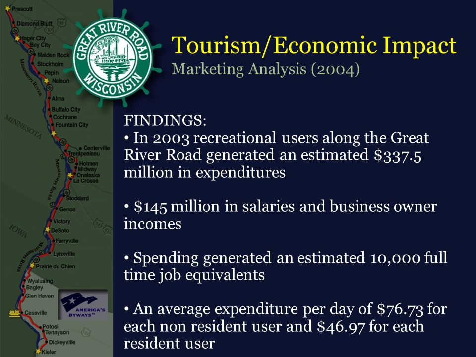 Tourism/Economic Impact Marketing Analysis (2004) FINDINGS: In 2003 recreational users along the Great River Road generated an estimated $337.5 million in expenditures $145 million in salaries and business owner incomes Spending generated an estimated 10,000 full time job equivalents An average expenditure per day of $76.73 for each non resident user and $46.97 for each resident user