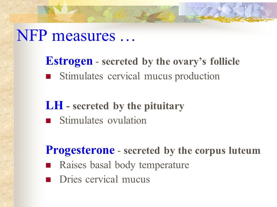NFP measures … Estrogen - secreted by the ovary's follicle Stimulates cervical mucus production LH - secreted by the pituitary Stimulates ovulation Progesterone - secreted by the corpus luteum Raises basal body temperature Dries cervical mucus