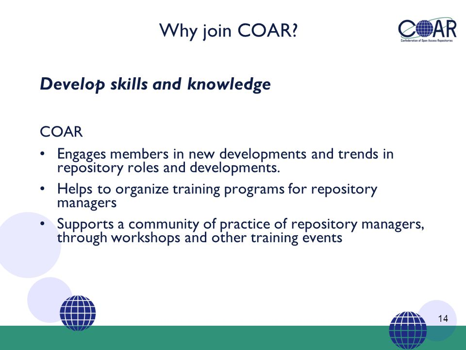 Why join COAR.