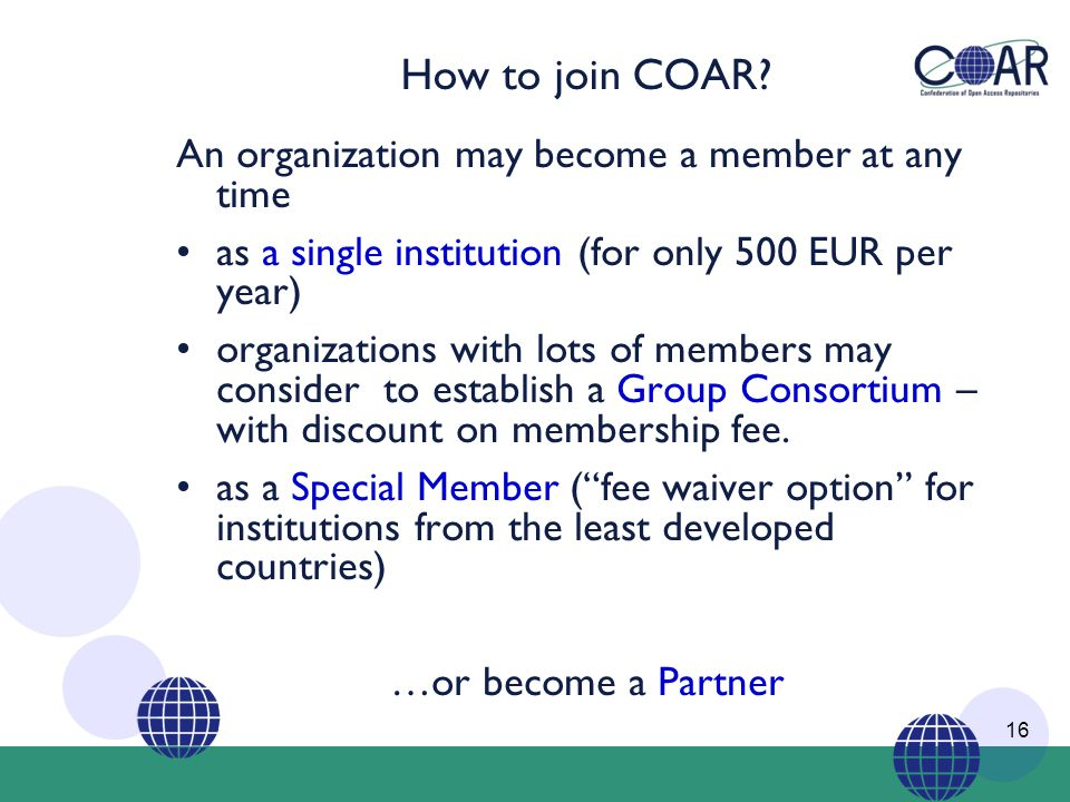 How to join COAR.