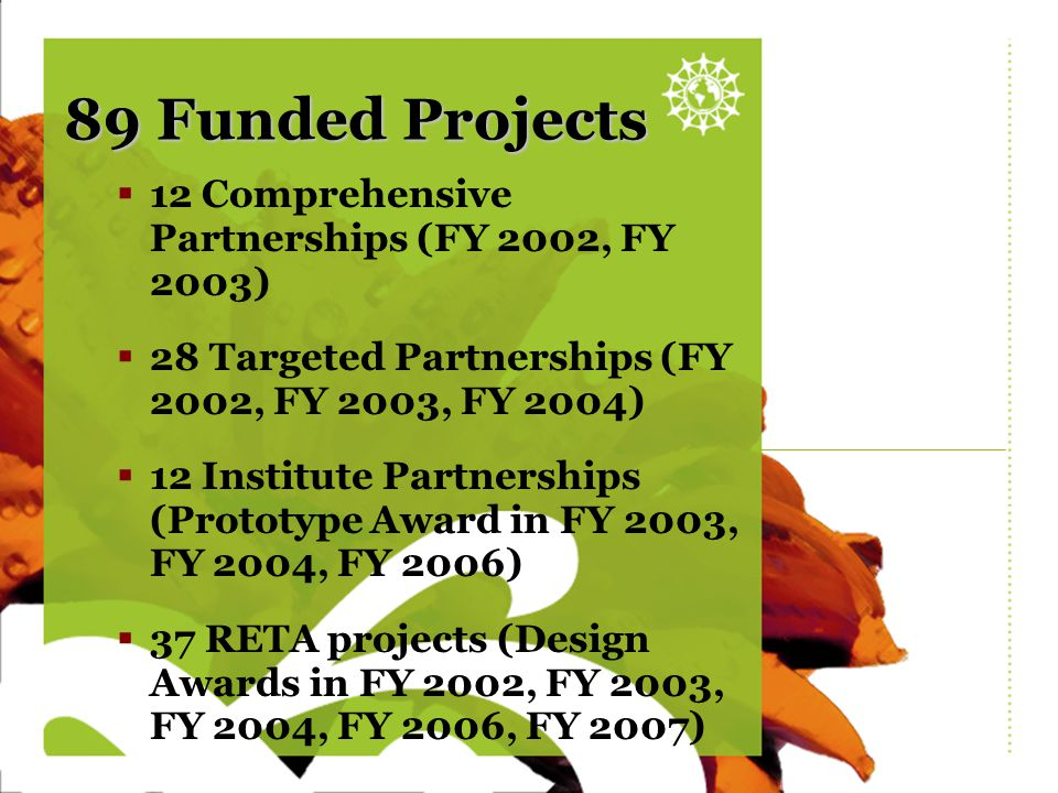 Sunflower blank 89 Funded Projects  12 Comprehensive Partnerships (FY 2002, FY 2003)  28 Targeted Partnerships (FY 2002, FY 2003, FY 2004)  12 Inst