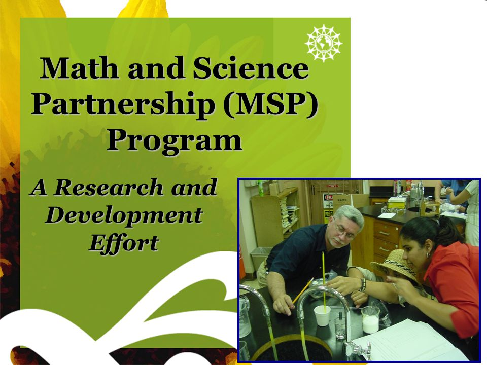 Sunflower blank Math and Science Partnership (MSP) Program A Research and Development Effort