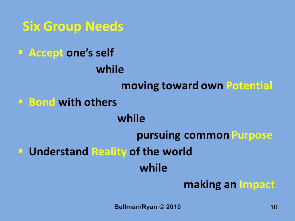 10 Six Group Needs  Accept one's self while moving toward own Potential  Bond with others while pursuing common Purpose  Understand Reality of the world while making an Impact