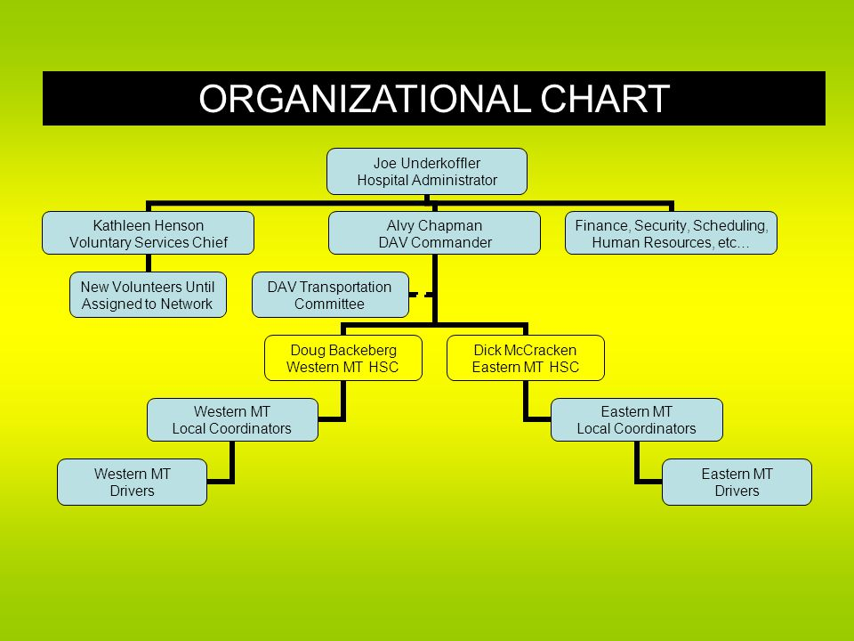 ORGANIZATIONAL CHART Joe Underkoffler Hospital Administrator Kathleen Henson Voluntary Services Chief New Volunteers Until Assigned to Network Alvy Chapman DAV Commander Doug Backeberg Western MT HSC Western MT Local Coordinators Western MT Drivers Dick McCracken Eastern MT HSC Eastern MT Local Coordinators Eastern MT Drivers DAV Transportation Committee Finance, Security, Scheduling, Human Resources, etc…
