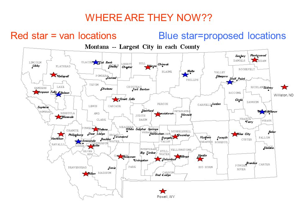 WHERE ARE THEY NOW Red star = van locations Blue star=proposed locations Powell, WY Williston, ND