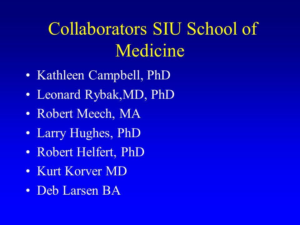 Collaborators SIU School of Medicine Kathleen Campbell, PhD Leonard Rybak,MD, PhD Robert Meech, MA Larry Hughes, PhD Robert Helfert, PhD Kurt Korver M