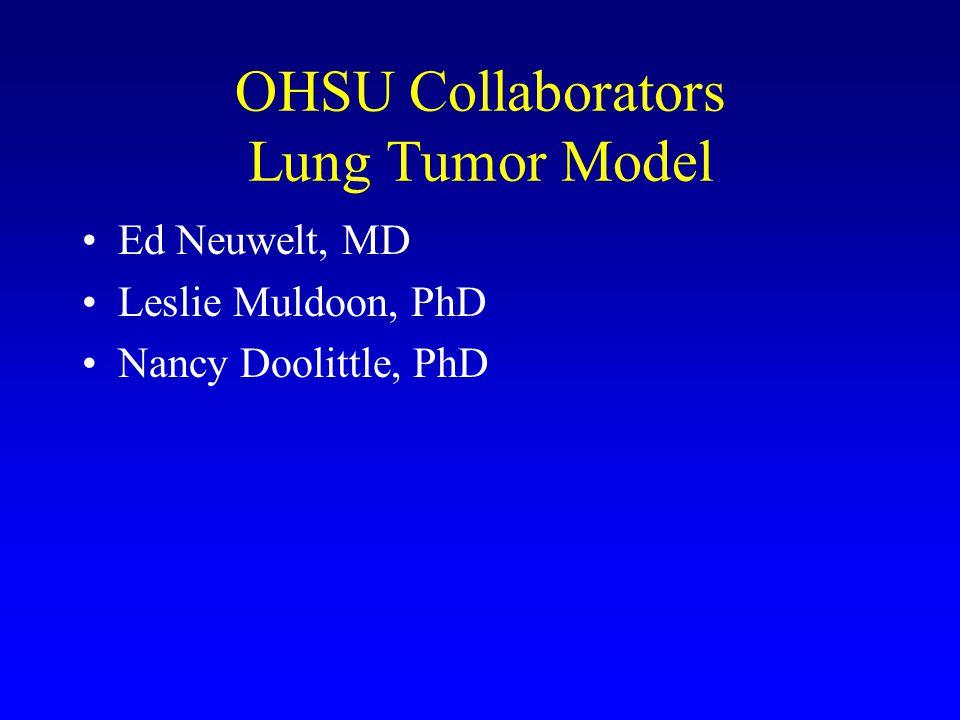 OHSU Collaborators Lung Tumor Model Ed Neuwelt, MD Leslie Muldoon, PhD Nancy Doolittle, PhD