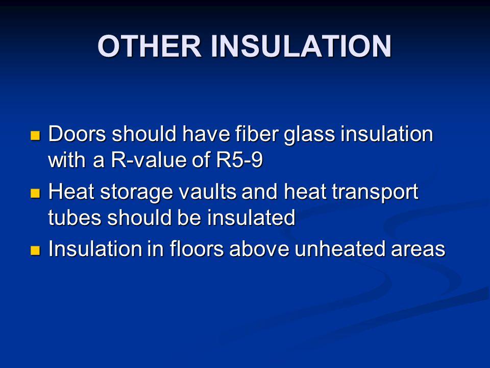OTHER INSULATION Doors should have fiber glass insulation with a R-value of R5-9 Doors should have fiber glass insulation with a R-value of R5-9 Heat