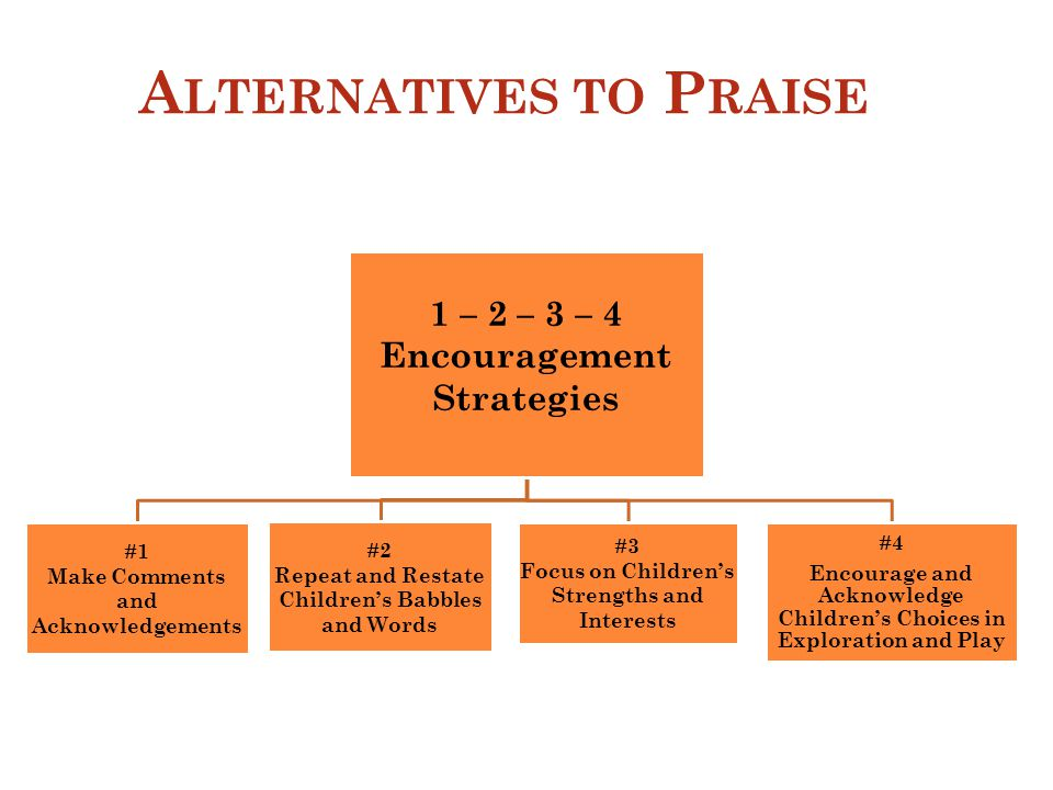 A LTERNATIVES TO P RAISE 1 – 2 – 3 – 4 Encouragement Strategies #1 Make Comments and Acknowledgements #2 Repeat and Restate Children's Babbles and Words #3 Focus on Children's Strengths and Interests #4 Encourage and Acknowledge Children's Choices in Exploration and Play 10