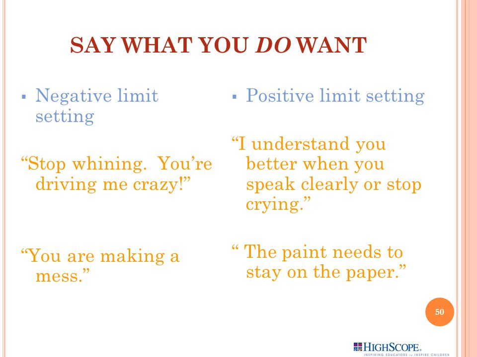 SAY WHAT YOU DO WANT  Negative limit setting Stop whining.