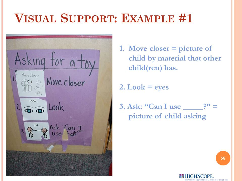 V ISUAL S UPPORT : E XAMPLE #1 1.Move closer = picture of child by material that other child(ren) has.