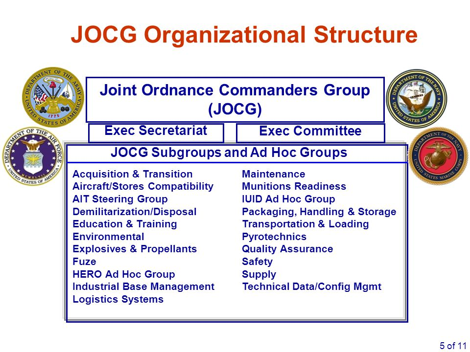 5 of 11 Acquisition & Transition Maintenance Aircraft/Stores Compatibility Munitions Readiness AIT Steering Group IUID Ad Hoc Group Demilitarization/D