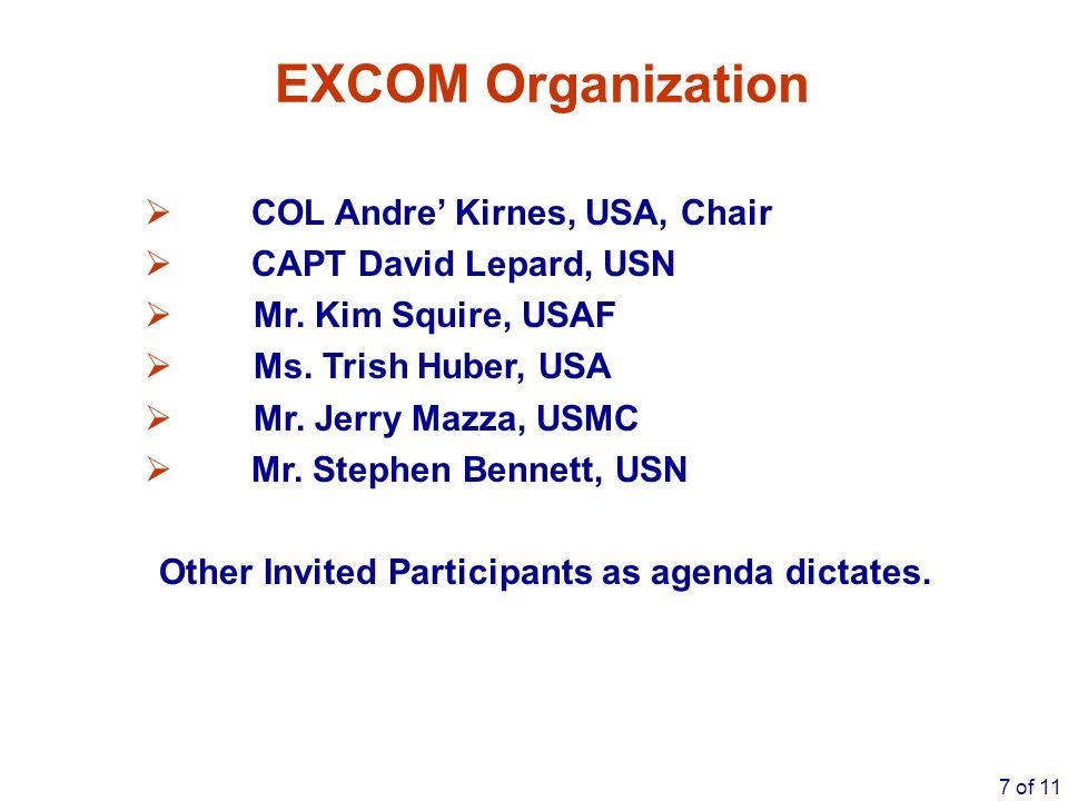 7 of 11 EXCOM Organization  COL Andre' Kirnes, USA, Chair  CAPT David Lepard, USN  Mr. Kim Squire, USAF  Ms. Trish Huber, USA  Mr. Jerry Mazza, U