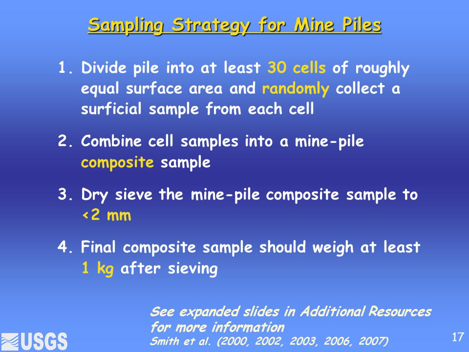 Sampling Strategy for Mine Piles 1.Divide pile into at least 30 cells of roughly equal surface area and randomly collect a surficial sample from each cell 2.Combine cell samples into a mine-pile composite sample 3.Dry sieve the mine-pile composite sample to <2 mm 4.Final composite sample should weigh at least 1 kg after sieving See expanded slides in Additional Resources for more information Smith et al.