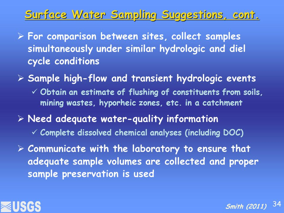 Surface Water Sampling Suggestions, cont.