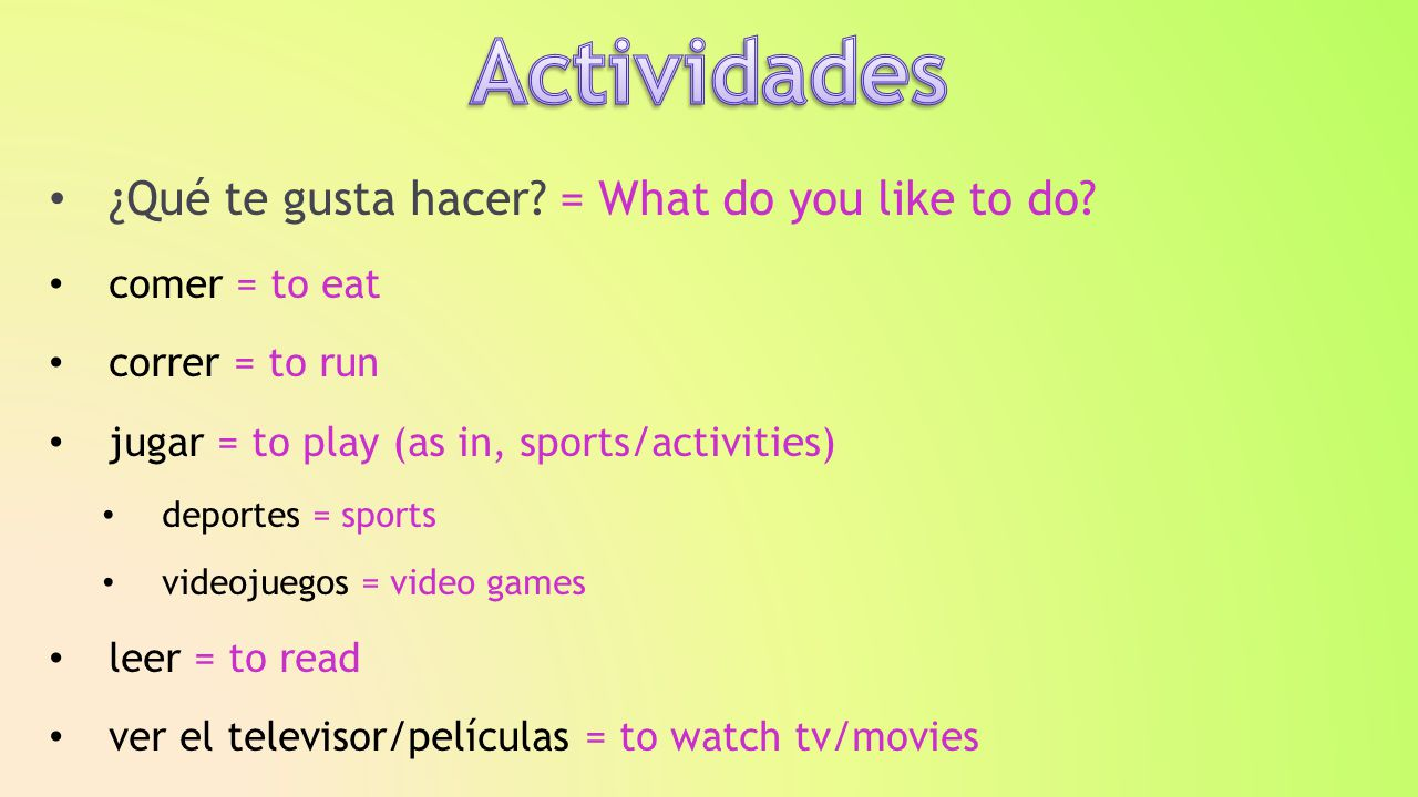 ¿Qué te gusta hacer. = What do you like to do.