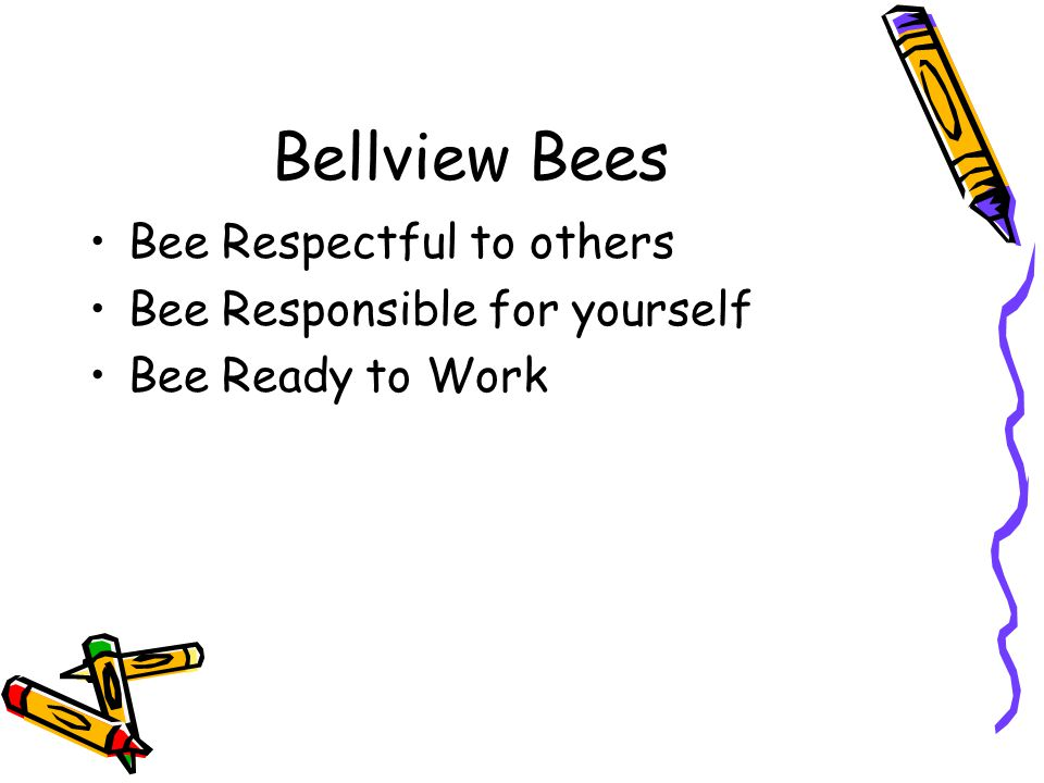Bellview Bees Bee Respectful to others Bee Responsible for yourself Bee Ready to Work