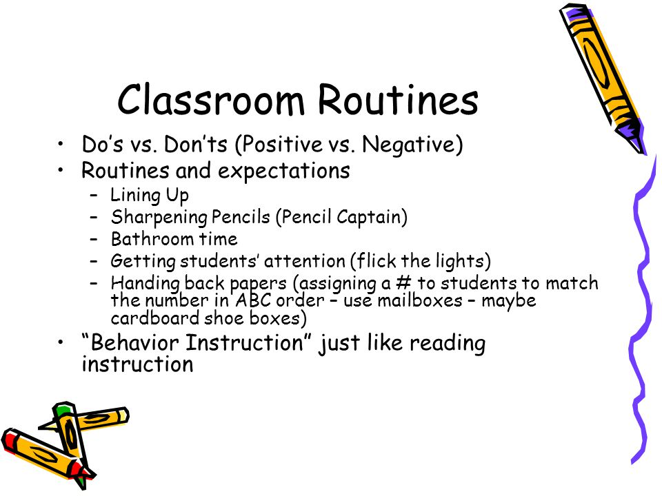 Classroom Routines Do's vs.Don'ts (Positive vs.