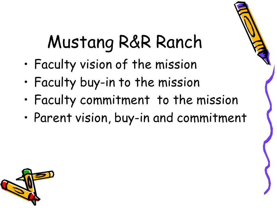 Mustang R&R Ranch Faculty vision of the mission Faculty buy-in to the mission Faculty commitment to the mission Parent vision, buy-in and commitment