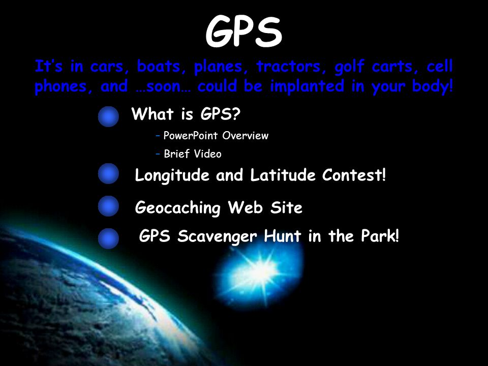 GPS It's in cars, boats, planes, tractors, golf carts, cell phones, and …soon… could be implanted in your body.