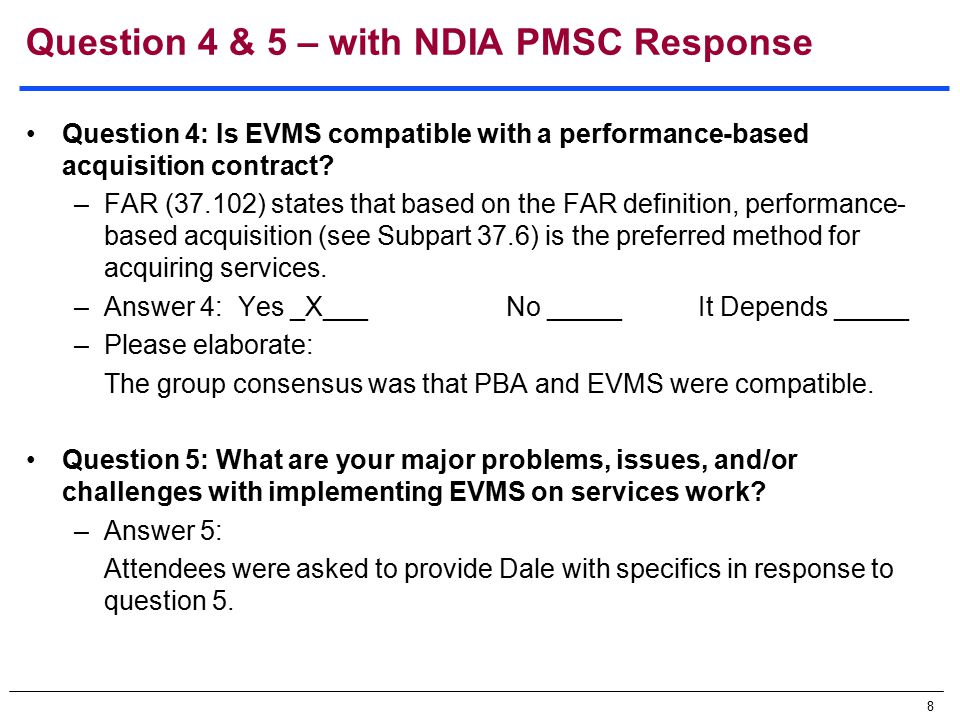 9 Near Term Objectives [defined at April meeting] 1.Solicit volunteers from Government and Industry partners 2.Need source material on implementing EVMS on services work Articles, presentations, lessons learned, surveys, POCs, etc.