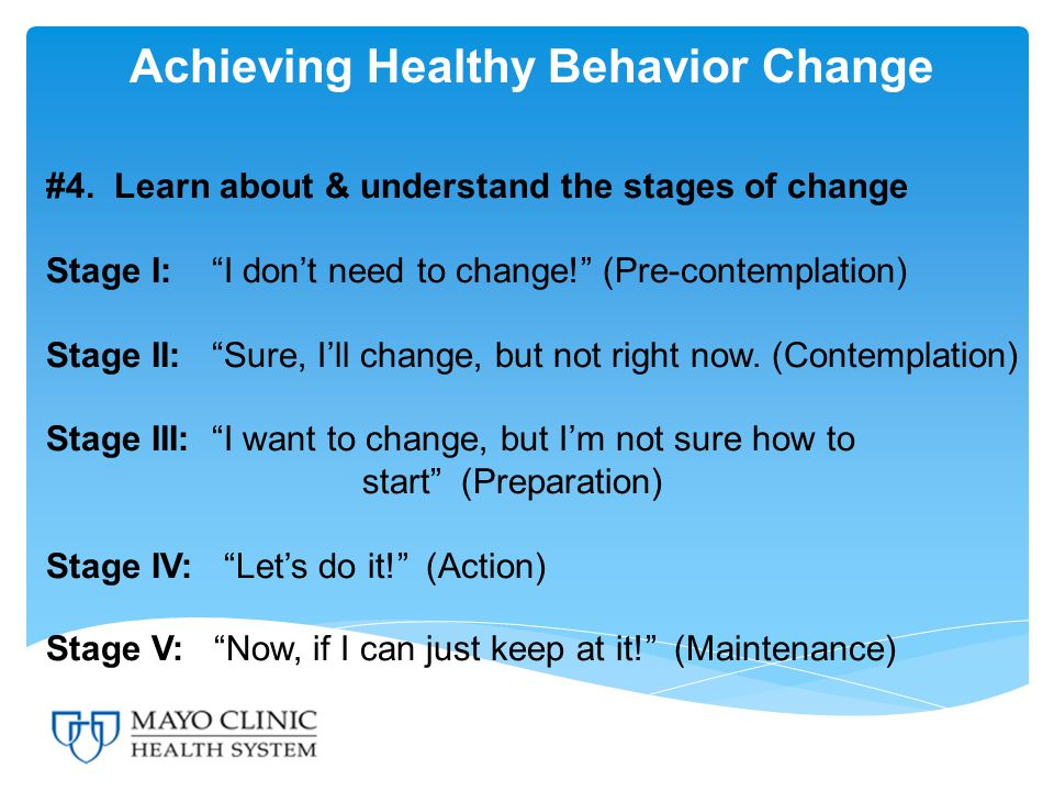 Achieving Healthy Behavior Change #4.