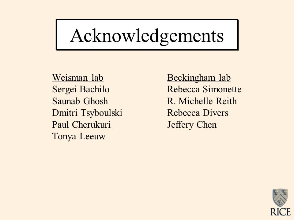 Acknowledgements Weisman lab Sergei Bachilo Saunab Ghosh Dmitri Tsyboulski Paul Cherukuri Tonya Leeuw Beckingham lab Rebecca Simonette R. Michelle Rei