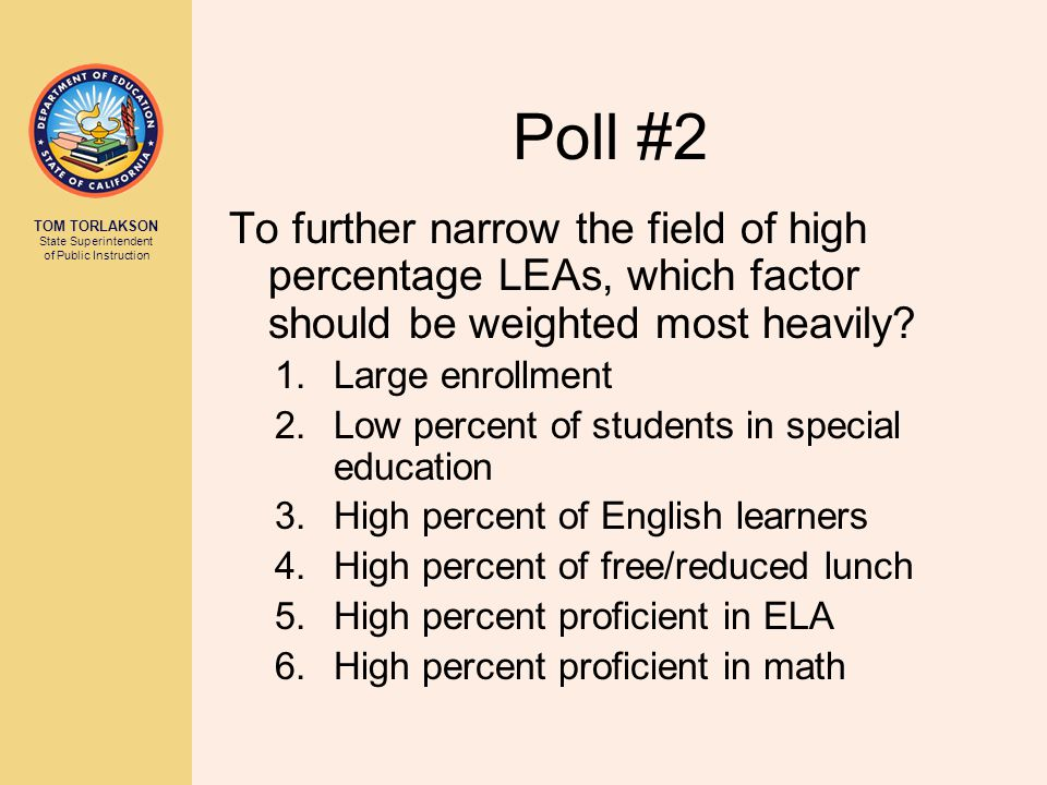 Poll #2 To further narrow the field of high percentage LEAs, which factor should be weighted most heavily.