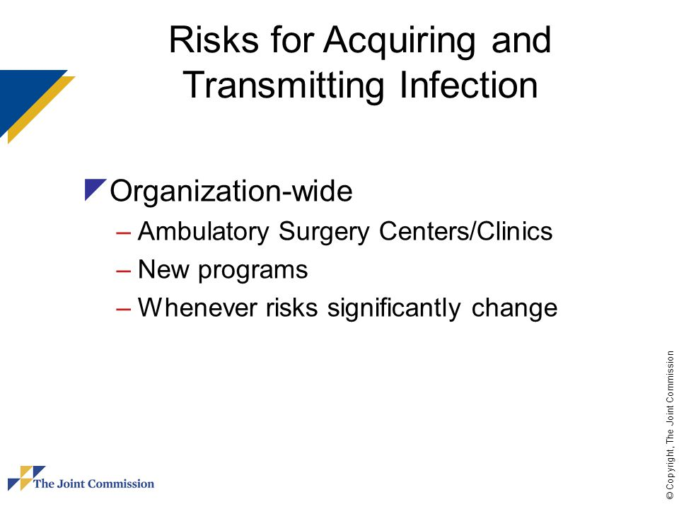 © Copyright, The Joint Commission Risks for Acquiring and Transmitting Infection  Organization-wide –Ambulatory Surgery Centers/Clinics –New programs