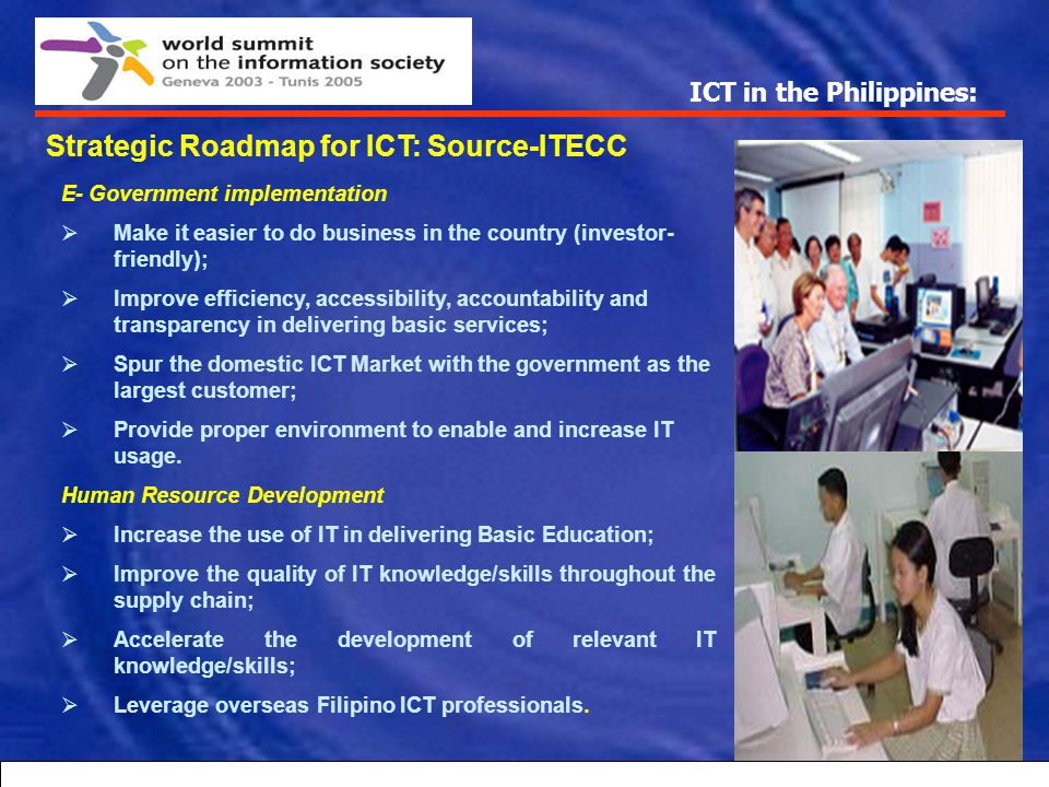 ICT in the Philippines: Telephone density in the Philippine (2002) MOBILE 19.36 PER 100 POPULATION FIXED LINES PER 100 POPULATION NATIONWIDE 4.17 Nati