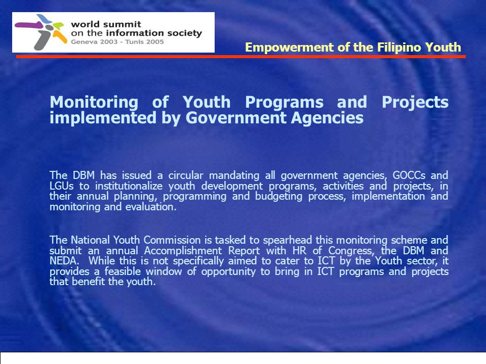 Empowerment of the Filipino Youth Republic Act No. 9208, an Act to Institute Policies to eliminate Trafficking in Persons especially Women and Childre
