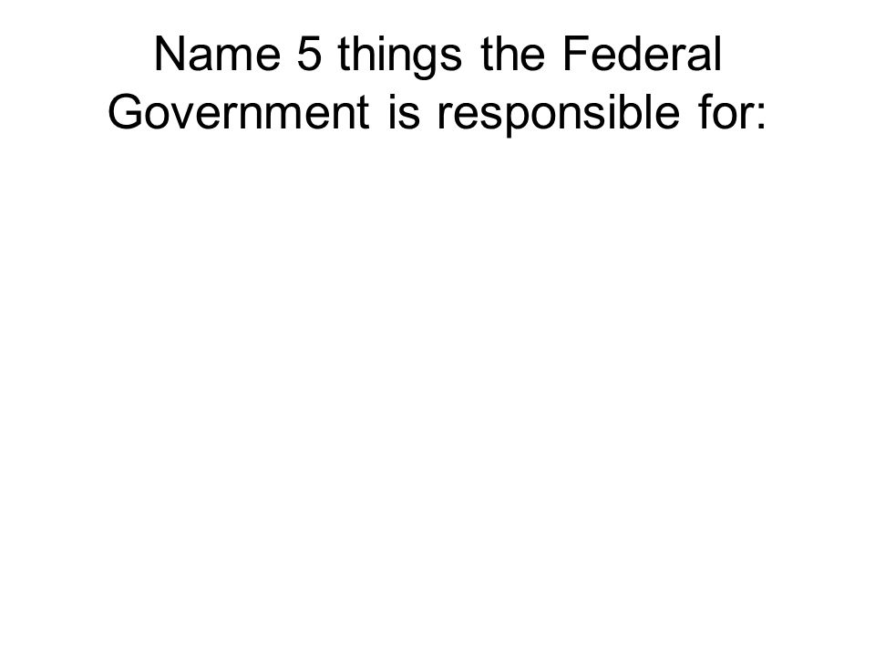 Name 5 things the Federal Government is responsible for: