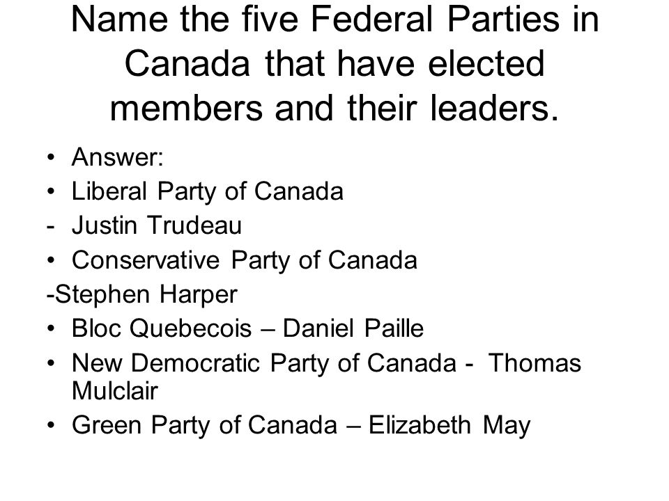 Name the five Federal Parties in Canada that have elected members and their leaders.