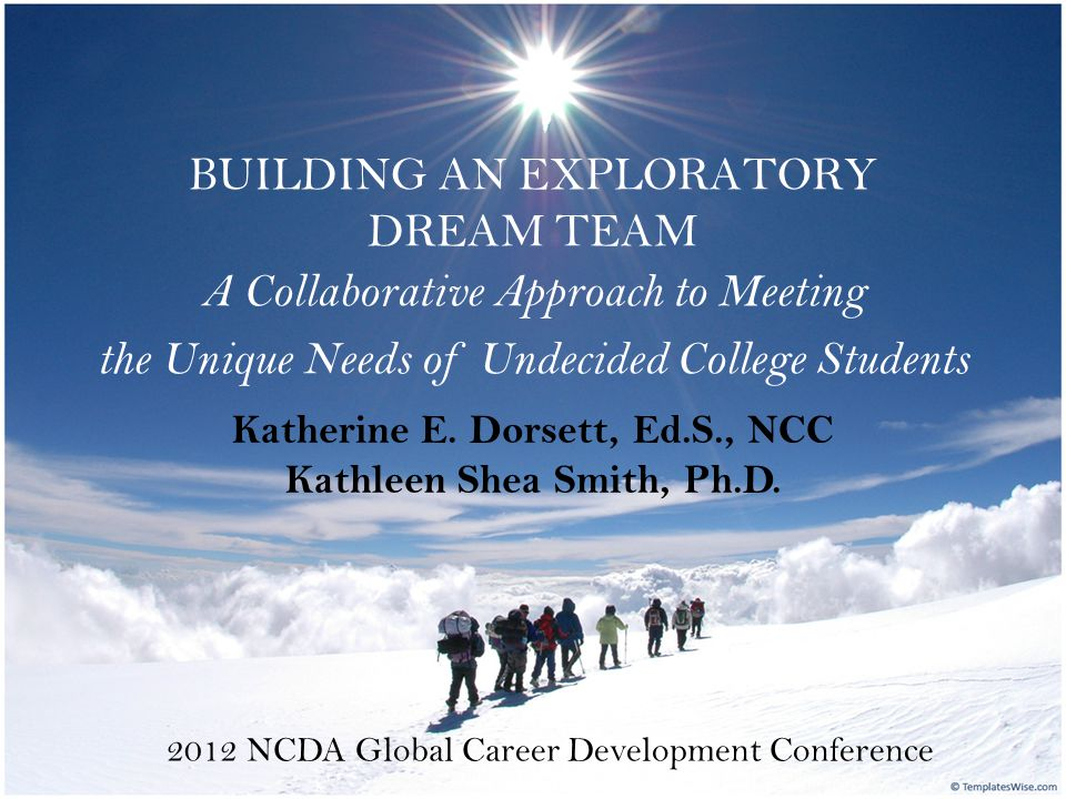 BUILDING AN EXPLORATORY DREAM TEAM A Collaborative Approach to Meeting the Unique Needs of Undecided College Students 2012 NCDA Global Career Development Conference Katherine E.
