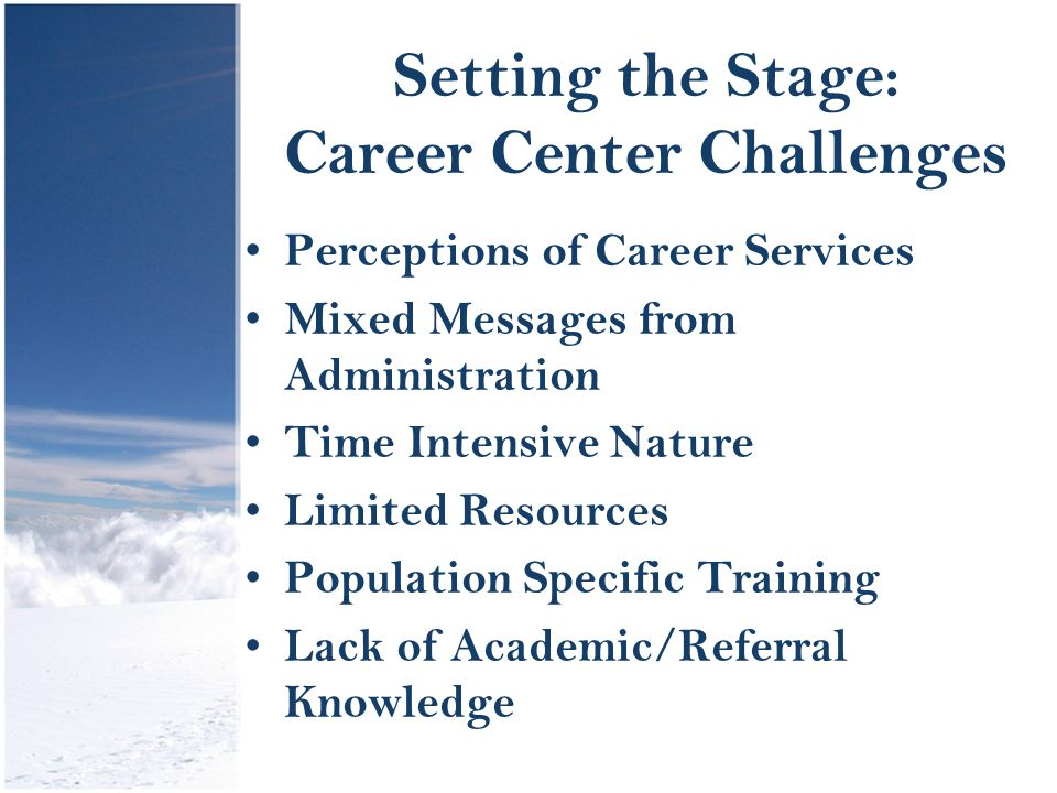 Setting the Stage: Career Center Challenges Perceptions of Career Services Mixed Messages from Administration Time Intensive Nature Limited Resources Population Specific Training Lack of Academic/Referral Knowledge