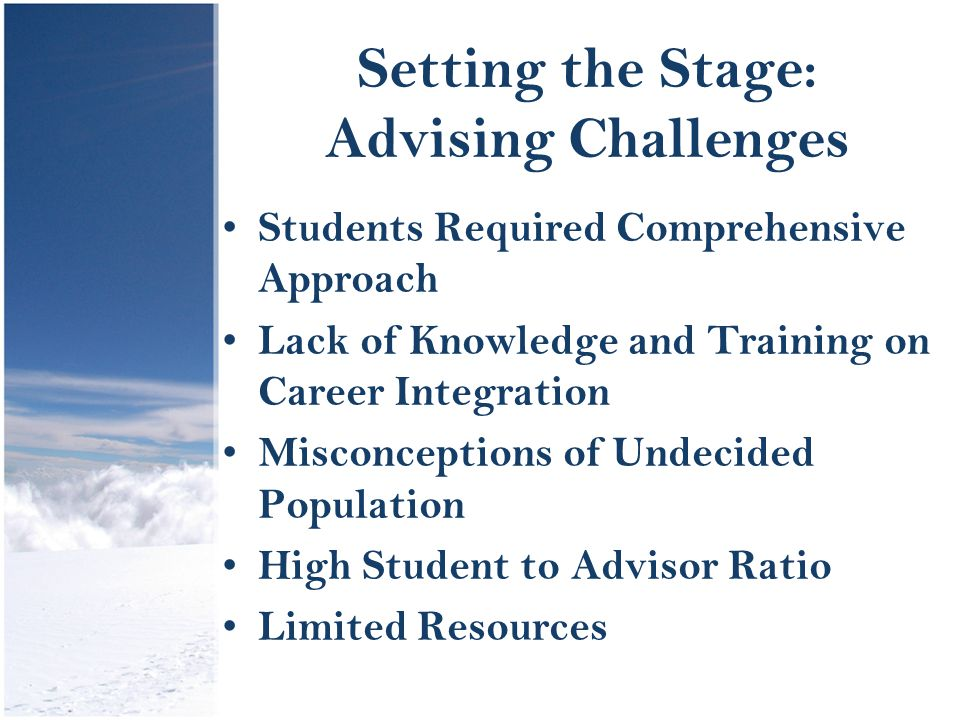 Setting the Stage: Advising Challenges Students Required Comprehensive Approach Lack of Knowledge and Training on Career Integration Misconceptions of Undecided Population High Student to Advisor Ratio Limited Resources