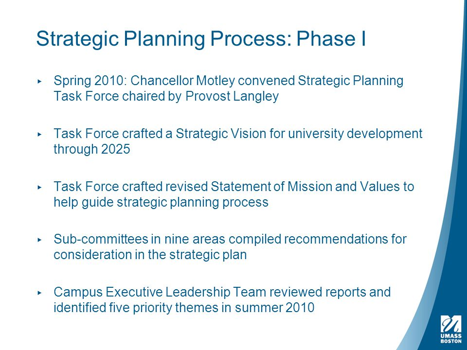 Strategic Planning Process: Phase I ▸ Spring 2010: Chancellor Motley convened Strategic Planning Task Force chaired by Provost Langley ▸ Task Force crafted a Strategic Vision for university development through 2025 ▸ Task Force crafted revised Statement of Mission and Values to help guide strategic planning process ▸ Sub-committees in nine areas compiled recommendations for consideration in the strategic plan ▸ Campus Executive Leadership Team reviewed reports and identified five priority themes in summer 2010