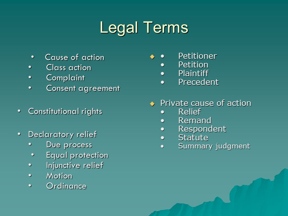 Legal Terms Cause of action Class action Complaint Consent agreement Constitutional rights Declaratory relief Due process Equal protection Injunctive relief Motion Ordinance Petitioner Petition Plaintiff Precedent PPPPrivate cause of action Relief Remand Respondent Statute Summary judgment