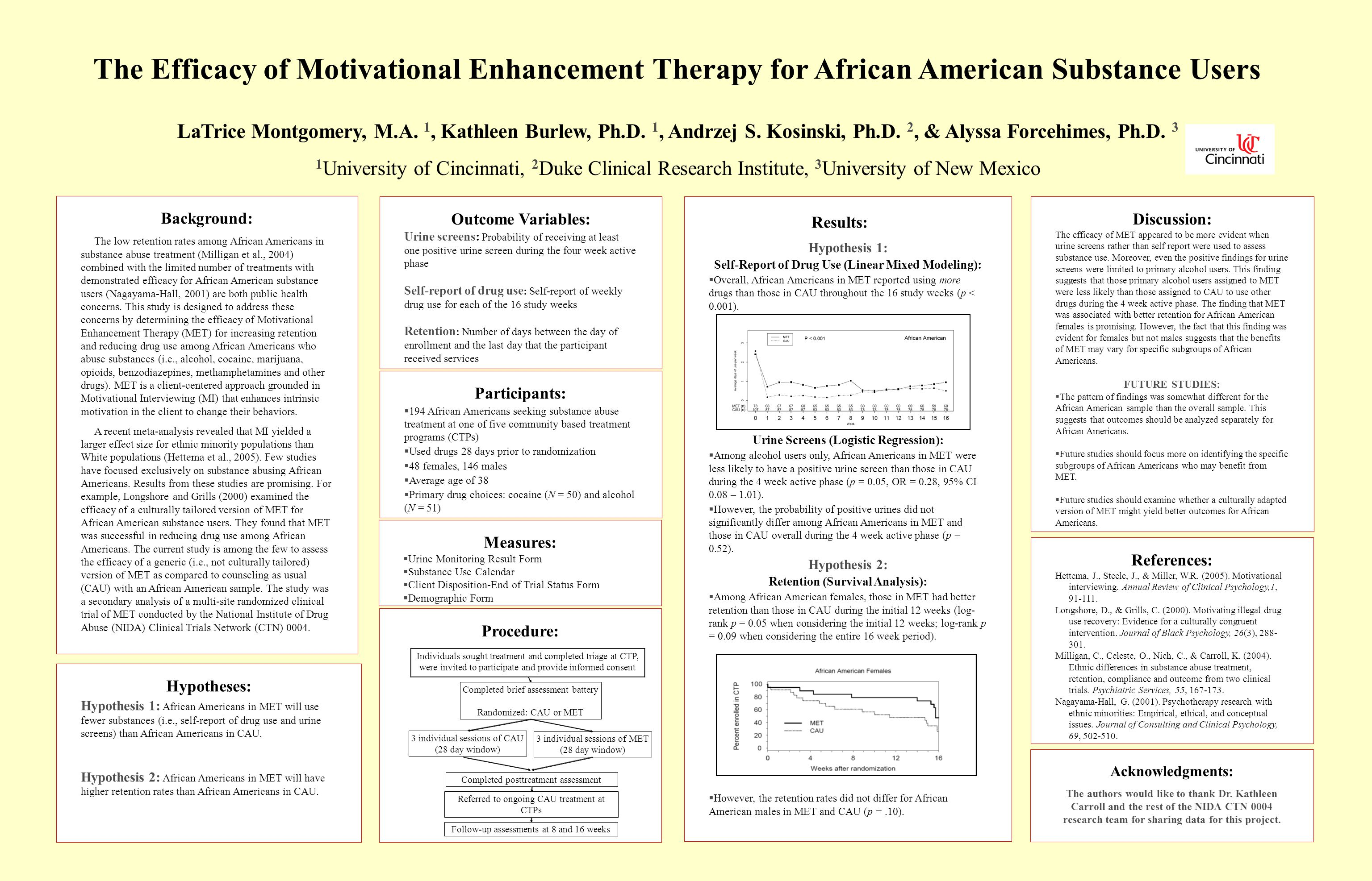 Background: The low retention rates among African Americans in substance abuse treatment (Milligan et al., 2004) combined with the limited number of treatments with demonstrated efficacy for African American substance users (Nagayama-Hall, 2001) are both public health concerns.