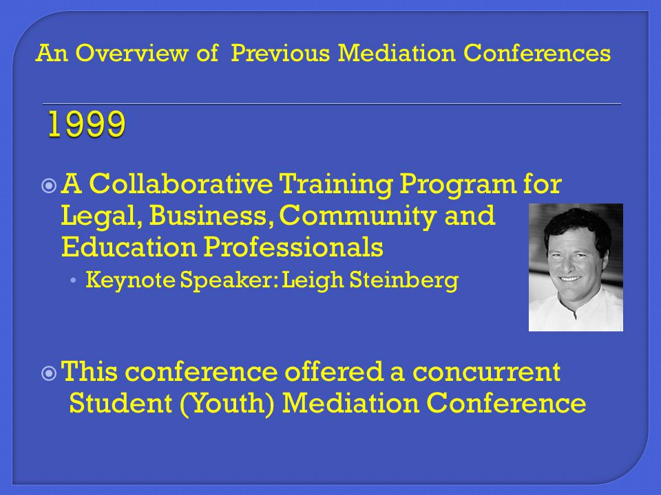 A Collaborative Training Program for Legal, Business, Community and Education Professionals Keynote Speaker: Leigh Steinberg  This conference offer