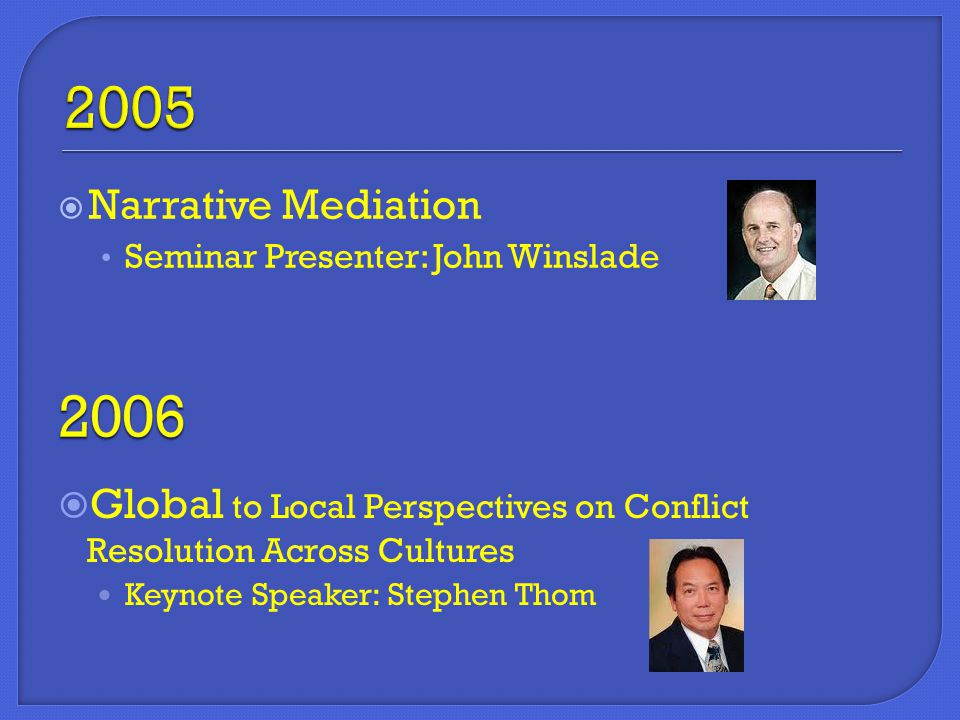  Narrative Mediation Seminar Presenter: John Winslade  Global to Local Perspectives on Conflict Resolution Across Cultures Keynote Speaker: Stephen Thom